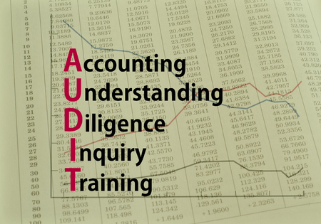 inquiry: Acronym AUDIT Accounting, Understanding, Diligence, Inquiry, Training Concept image