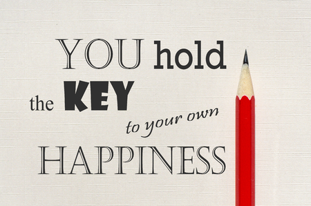 Inspirational quote - You hold the key to your own happiness. Banque d'images