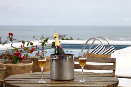 champagne: champagne in the pool