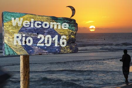 rio: Welcome sign to Rio de Janeiro.