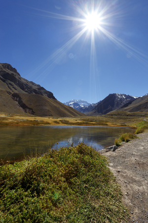 aconcagua: Aconcagua, the highest mountain in the Americas at 6.960 mts., located in the Andes mountain range in Mendoza, Argentina.