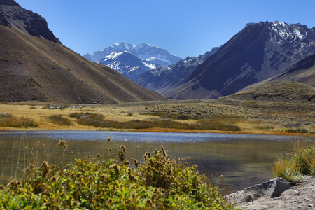 aconcagua: Aconcagua, the highest mountain in the Americas at 6,960 mts., Located in the Andes mountain range in Mendoza, Argentina. Stock Photo