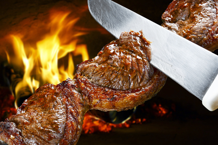 barbecue: Steak, traditional Brazilian barbecue.