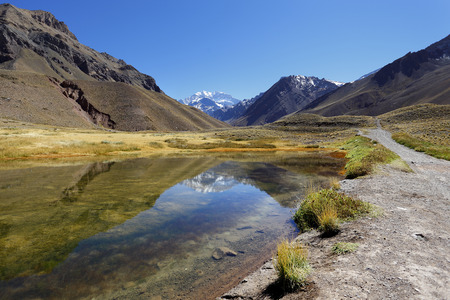 andes mountain: Aconcagua, the highest mountain in the Americas at 6,960 mts., Located in the Andes mountain range in Mendoza, Argentina. Stock Photo
