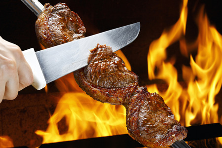 Steak, traditional Brazilian barbecue.