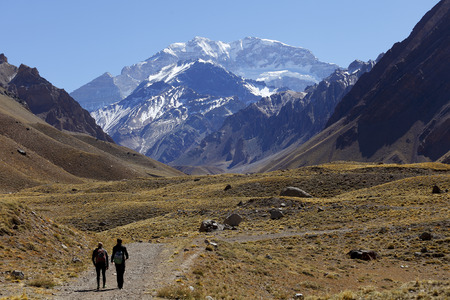 Aconcagua, the highest mountain in the Americas at 6,960 mts., Located in the Andes mountain range in Mendoza, Argentina. Stock Photo