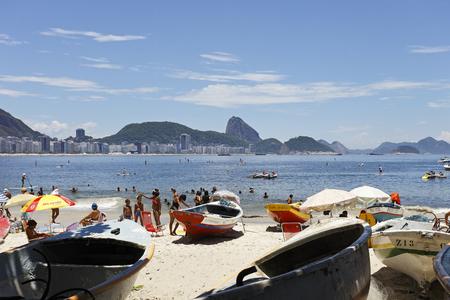 rio de janeiro: RIO DE JANEIRO - CIRCA JAN 2014:People on the Beach in Rio de Janeiro: January 2014