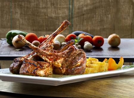 restaurant tables: Rack of Lamb Stock Photo