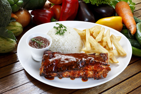 barbeque: roast ribs with barbecue sauce