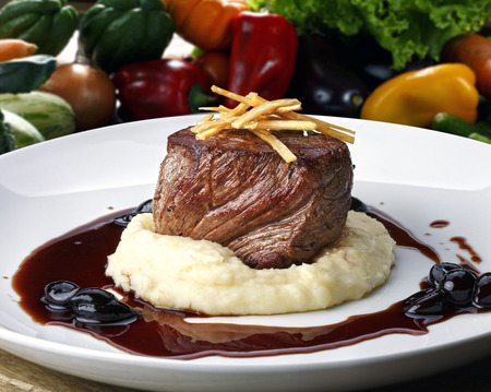 fillets: Filet mignon with red wine sauce Stock Photo