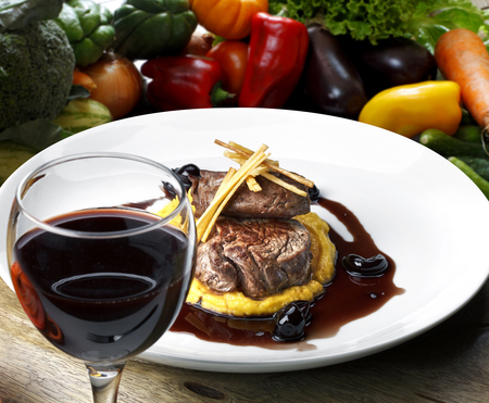 filet: Filet mignon with red wine