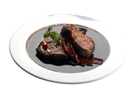 filet mignon in wine sauce Stock Photo