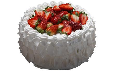 Slagroom taart met aardbei Stockfoto - 56288488