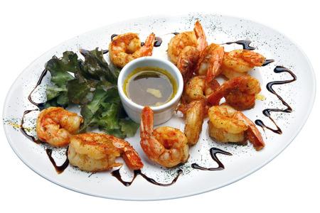 haute cuisine: Haute cuisine, large shrimp with sauce