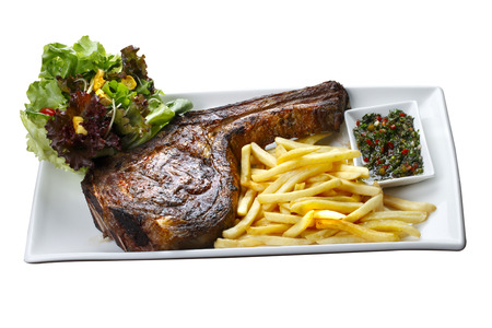 prime: Prime rib with fries and salad Stock Photo