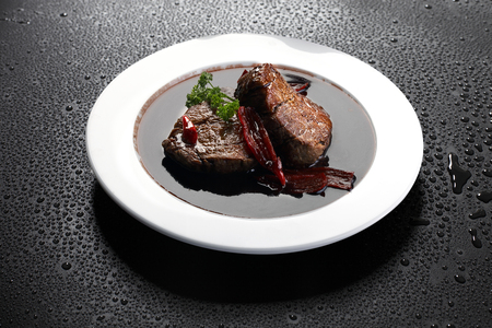 wine sauce: Filet mignon red wine sauce Stock Photo
