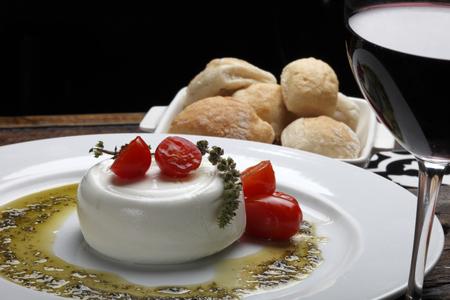italian Burrata mozzarella cheese and red wine