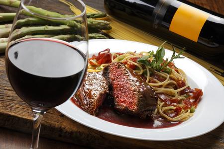 Filet mignon red wine sauce Stock Photo