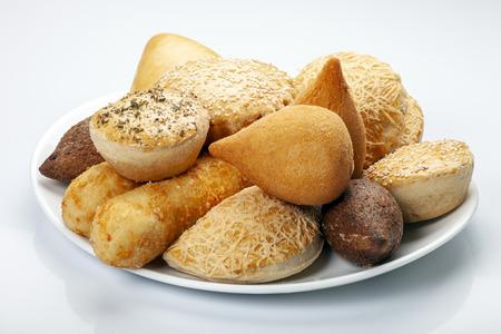 Mixed brazilian snack food Imagens