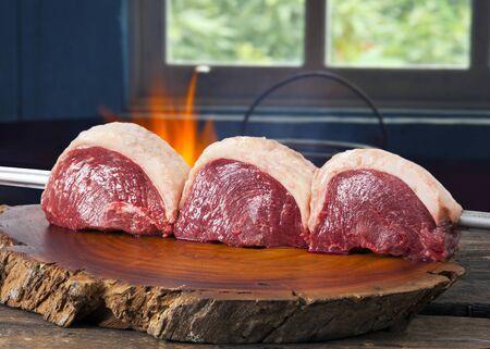 Brasilianischer Picanha. Rohes Fleisch Essen Standard-Bild
