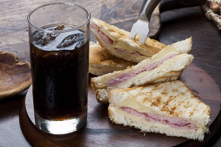 hot mixed sandwich with cola soda