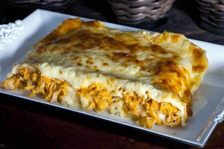 Roasted chicken lasagna with mozzarella