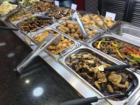Self service restaurant buffet food Stock Photo