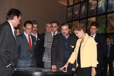 Rio de Janeiro, Brazil, 17th December 2015: Dilma Rousseff, President of Brazil, Attended the opening of the Museum of Tomorrow, in Rio de Janeiro. Participants included the Governor Luiz Fernando de Souza, Mayor Eduardo Paes and members of Local Authorit Sajtókép
