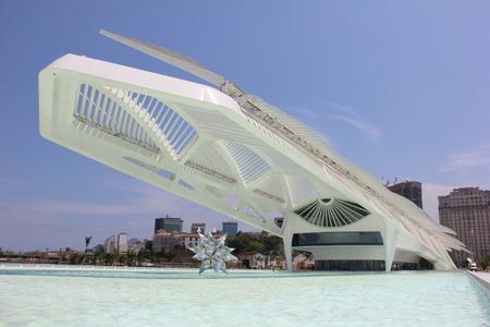 Rio de Janeiro, Brazil, 17th December 2015: Rio City Hall opens the Museum of Tomorrow in the Port Area. The newly opened Museum of Tomorrow science museum in Rio de Janeiro's port area designed by Spanish architect Santiago Calatrava.