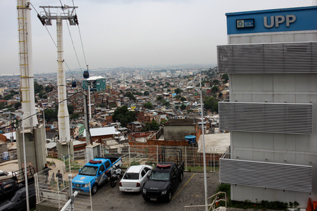 police unit: Rio de Janeiro, Brazil: View of the UPP - Pacifying Police Unit of the Complex of the German £. The public security system deployed in Rio de Janeiro serves slums and areas with a high crime rate, but has points que need improvement. Photo taken on March