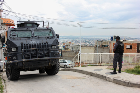 police unit: Rio de Janeiro, Brazil: View of the UPP - Pacifying Police Unit of the Complex of the German �. The public security system deployed in Rio de Janeiro serves slums and areas with a high crime rate, but has points que need improvement. Photo taken on March