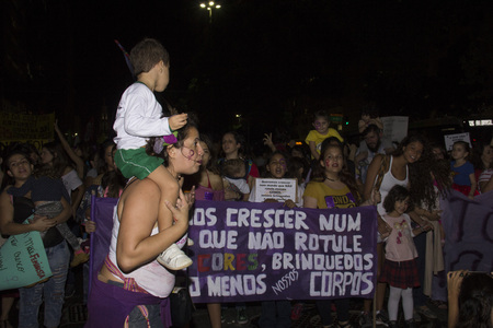 abused women: Rio de Janeiro, Brazil, 01 June 2016: Hundreds of women held a demonstration in Rios downtown streets to protest against sexism and against the gang rape suffered by a girl of 16 years old. The girl had been sexually abused by more than 30 men and police Editorial