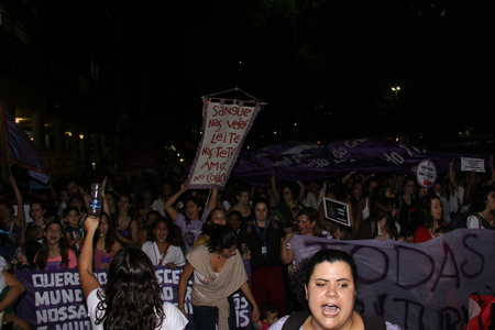 16 years: Rio de Janeiro, Brazil, 01 June 2016: Hundreds of women held a demonstration in Rios downtown streets to protest against sexism and against the gang rape suffered by a girl of 16 years old. The girl had been sexually abused by more than 30 men and police Editorial