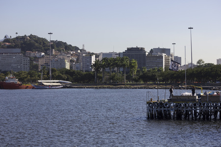 the olympic games: Rio de Janeiro, Brazil, 15 June 2016: View of Guanabara Bay near the Marina da Gloria and the Santos Dumont Airport. On site will be carried out competitions of Olympic sailing during the 2016 Olympic Games. Editorial