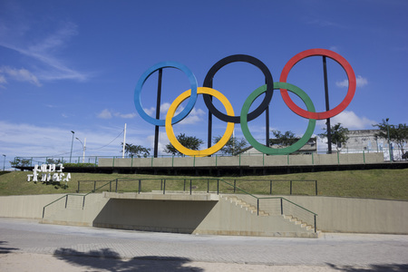 olympic symbol: Rio de Janeiro, Brazil, 22 June 2016: View of the Olympic rings installed in Madureira Park, in the north of Rio de Janeiro. These Olympic rings were installed in London and were donated to Rio de Janeiro.