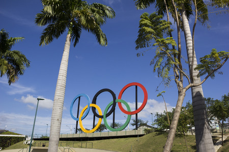 Rio de Janeiro, Brazil, 22 June 2016: View of the Olympic rings installed in Madureira Park, in the north of Rio de Janeiro. These Olympic rings were installed in London and were donated to Rio de Janeiro.
