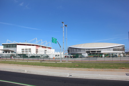 eduardo: Rio de Janeiro, Brazil, June 25, 2016: Rio de Janeiro, Brazil, June 25, 2016: The latest work of the Rio 2016 Olympic Park is finally completed. The opening ceremony will be held on Sunday (26 June 2016) by the Mayor Eduardo Paes.
