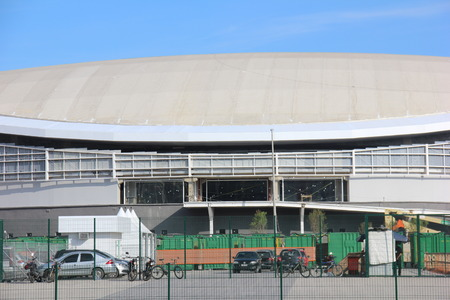 velodrome: Rio de Janeiro, Brazil, June 25, 2016: Rio de Janeiro, Brazil, June 25, 2016: The latest work of the Rio 2016 Olympic Park is finally completed. The opening ceremony will be held on Sunday (26 June 2016) by the Mayor Eduardo Paes.