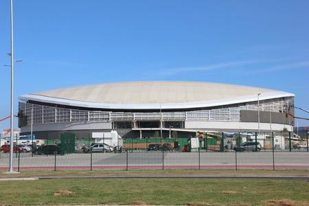 deportes olimpicos: Río de Janeiro, Brasil, 25 de Junio, 2016: Río de Janeiro, Brasil, 25 de Junio, 2016: El último trabajo del 2016 Parque Olímpico Rio está finalmente terminado. La ceremonia de apertura se llevará a cabo el domingo (26 de junio de 2016) por el alcalde Eduardo Paes.