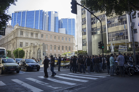 shutdown: Rio de Janeiro, Brazil, 27 June 2016: Civil Police of Rio de Janeiro make shutdown for a few hours and act of protest against the economic crisis that affects the work of the police. In some police stations there is no paper for the hit record and there a