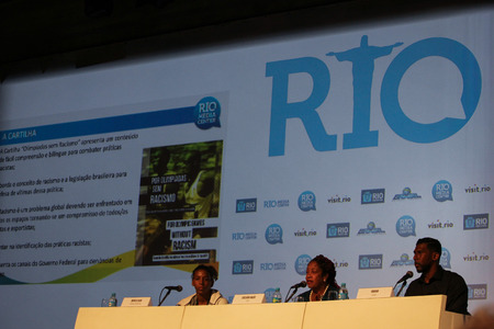 medalist: Rio de Janeiro, Brazil August 10, 2016: Rafaela Silva, Brazilian gold medalist athlete of judo, attends a press conference about racial equality in sport to fight against racism.