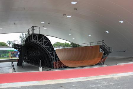 x sport: Rio de Janeiro, Brazil, September 10, 2016: Madureira Park holds the largest public world�s half pipe skate park, designed by X Games World Champion Bob Burnquist, the Brazilian skater with the largest winning record in the sport. The half pipe structure