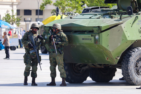 Rio de Janeiro, Brazil, July 29, 2017: After collapsing public safety systems, the Federal Government intervened with approximately 10,000 Navy, Army and Air Force personnel to ensure public safety and combat drug trafficking and theft of cargo in the Sta Redakční