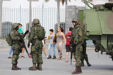 Rio de Janeiro, Brazil, July 29, 2017: After collapsing public safety systems, the Federal Government intervened with approximately 10,000 Navy, Army and Air Force personnel to ensure public safety and combat drug trafficking and theft of cargo in the Sta Editorial