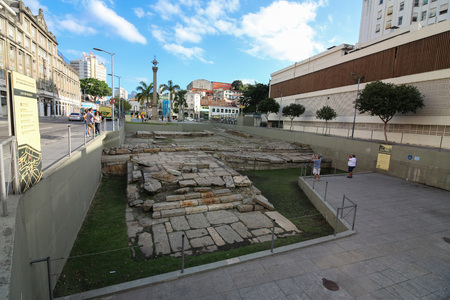Rio de Janeiro, Brazil, July 29, 2017: Cais do Valongo (Valongo Wharf), an archaeological site recognized by Unesco as a World Heritage Site. The site was the largest port of landing of slaves in the Americas. It is estimated that approximately 1 million  Editorial