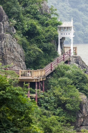 banister: Baoxie cliff road Stock Photo
