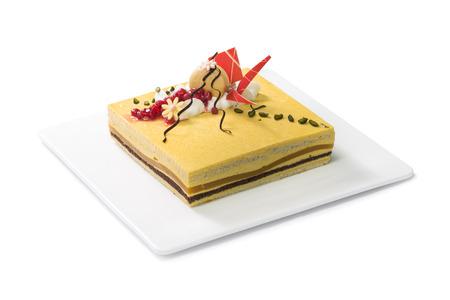 mousse cake isolated on white background
