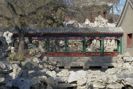 Close up to an ancient style walkway in beihai park of beijing