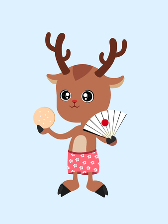 A cute cartoon Japanese deer with a paper fan and a biscuit in his hand, wearing red shorts with sakura flower patterns in summer holiday