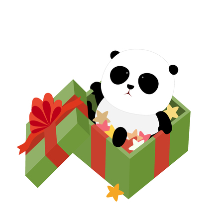 A cute cartoon giant panda is sitting in a christmas present box filled with colorful stars and wrapped with green wrapping paper and red ribbons
